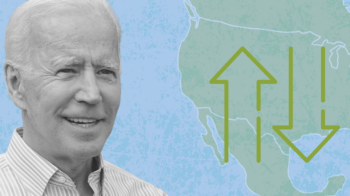 Image shows Joe Biden next to a map of North America